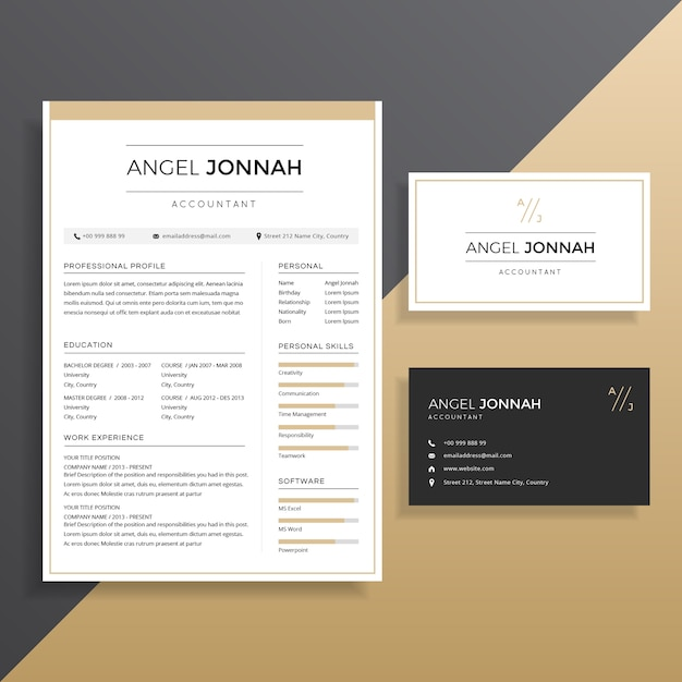 Clean professional Resume CV with Business Card Template Design - resume business cards