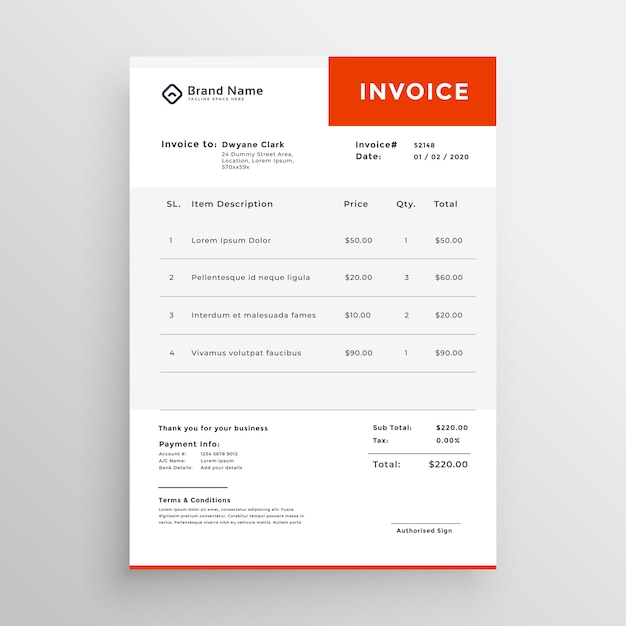 Clean simple invoice template design Vector Free Download