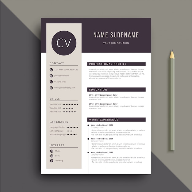 graphic designer cv vector free download