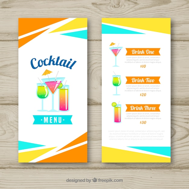 Cocktail menu template with flat design Vector Free Download