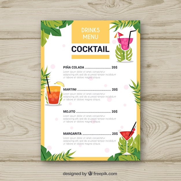 Cocktail menu template with palm leaves Vector Free Download