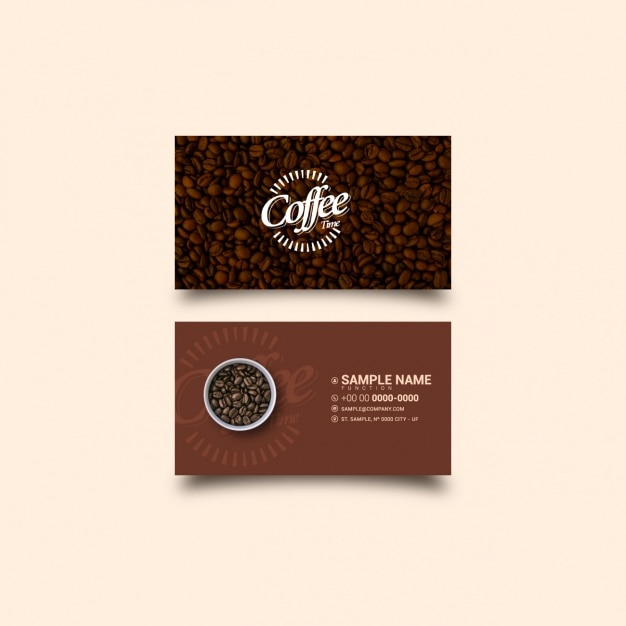 Coffee business card template Vector Free Download