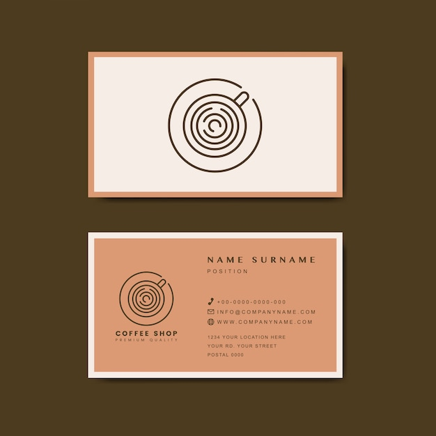 Coffee shop business card template vector Vector Free Download