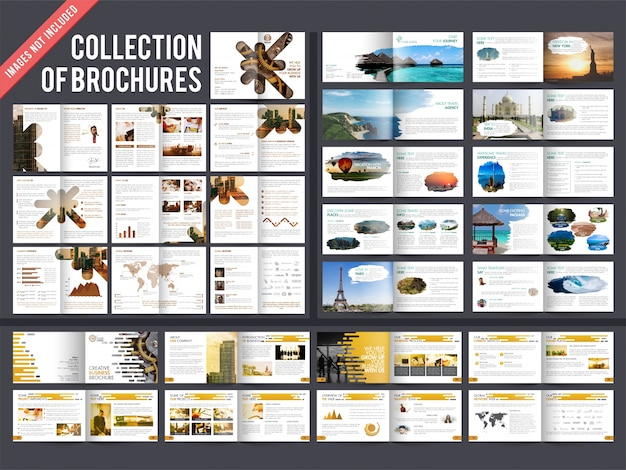 Collection of 3 multiple pages brochures with cover page design