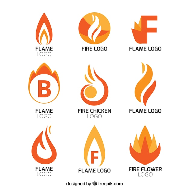 Collection of abstract flame logos Vector Free Download - flame logo
