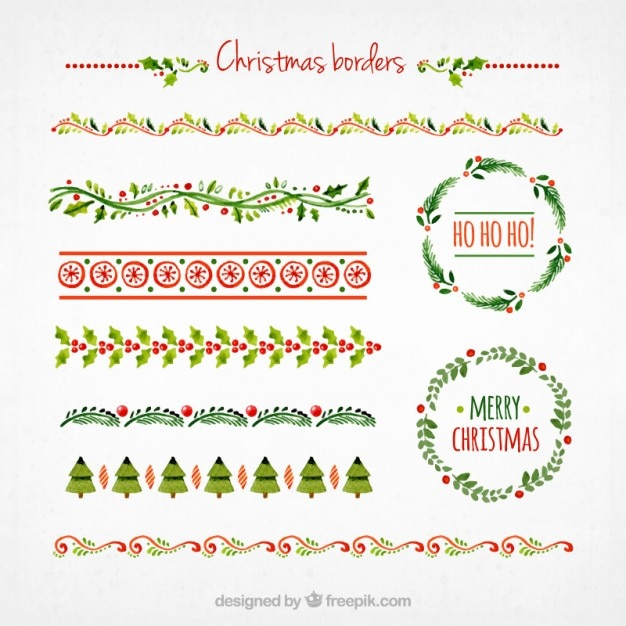 Collection of christmas borders Vector Free Download
