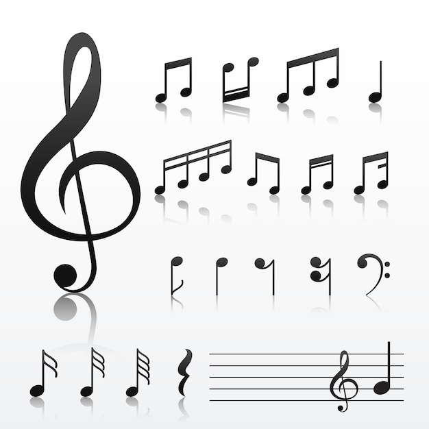 Collection of music note symbols Vector Free Download