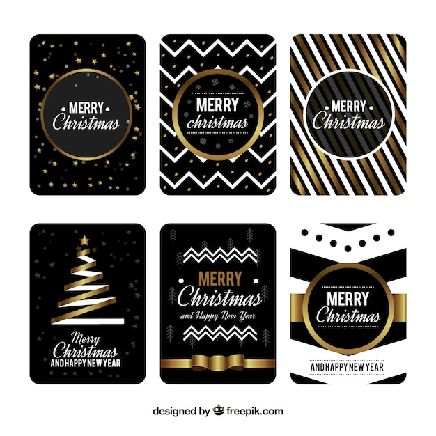 Collection of six christmas cards in black with golden and white - christmas cards black and white