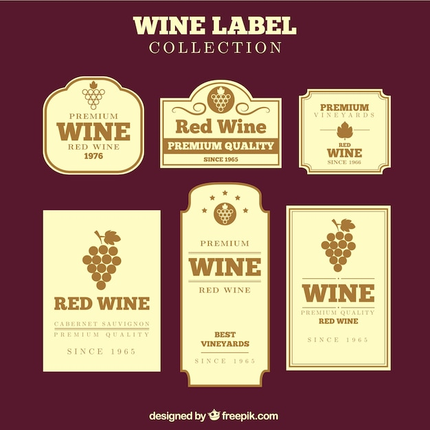 Collection of vintage wine labels in flat design Vector Free Download