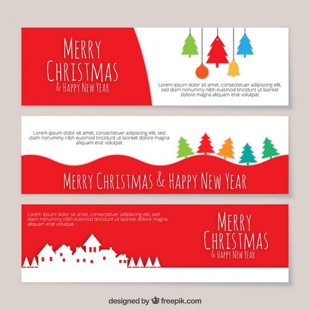 Colored christmas banners template Vector Free Download