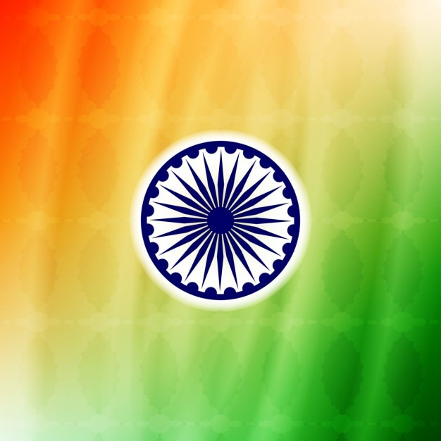 Colorful background of India with Ashoka Chakra Vector Free Download