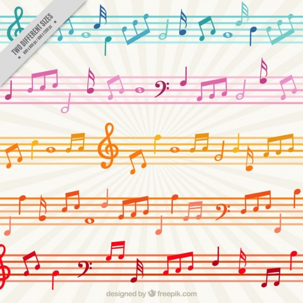 Colorful background with musical notes and staves Vector Premium