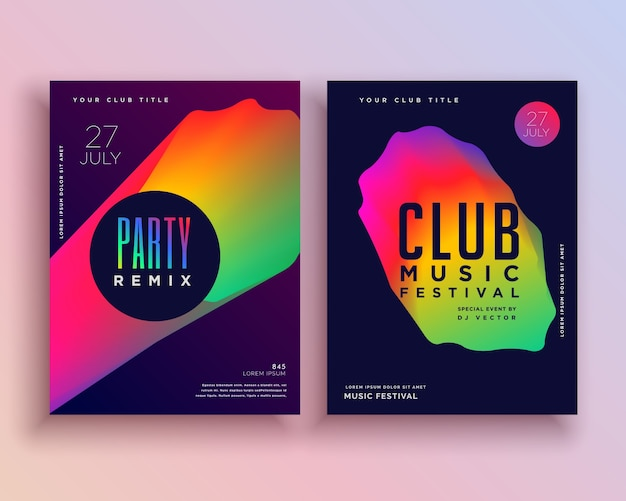 Colorful club music flyer template Vector Free Download