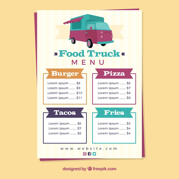 Colorful food truck menu template Vector Free Download - food truck menu template
