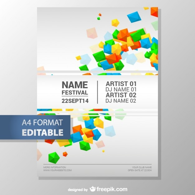 Colorful geometric editable poster template Vector Free Download - editable poster templates