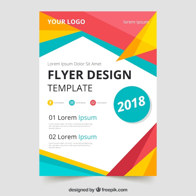 Colorful geometric flyer template Vector Free Download