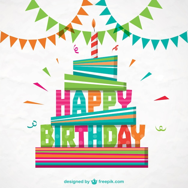 Colorful happy birthday card Vector Free Download