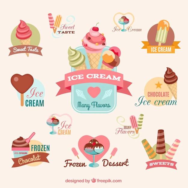 Colorful ice creams Vector Free Download