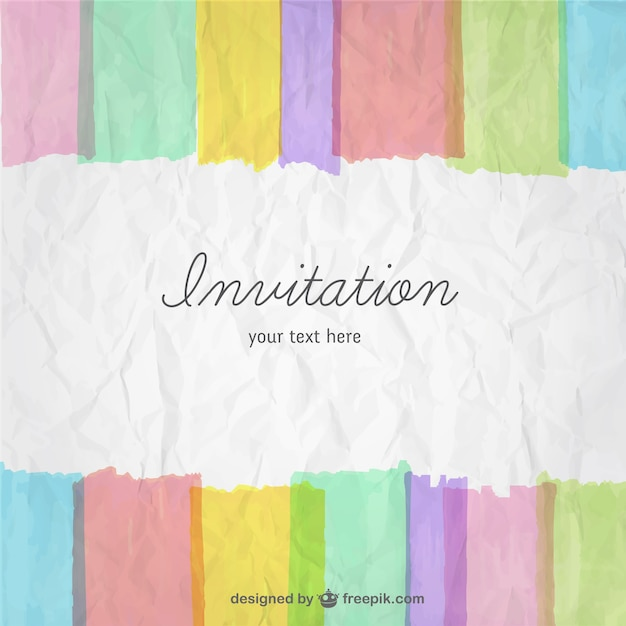 Colorful invitation card Vector Free Download - create invitation card free download