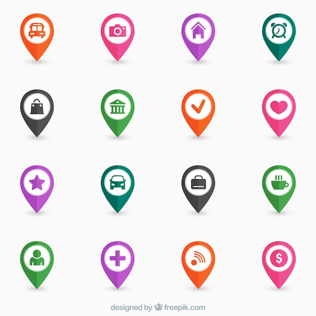 Colorful map pins Vector Free Download
