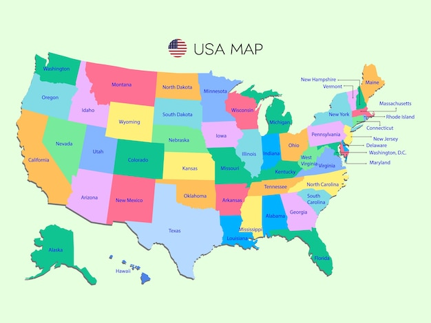 Colorful map of usa on green background Vector Premium Download