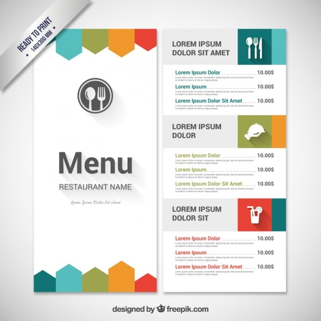 Colorful menu template Vector Free Download - Free Drink Menu Template
