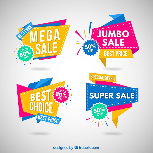 Colorful origami sale banner collection Vector Free Download