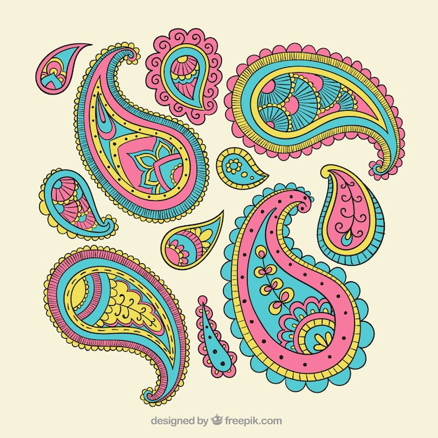 Colorful paisley ornaments Vector Free Download