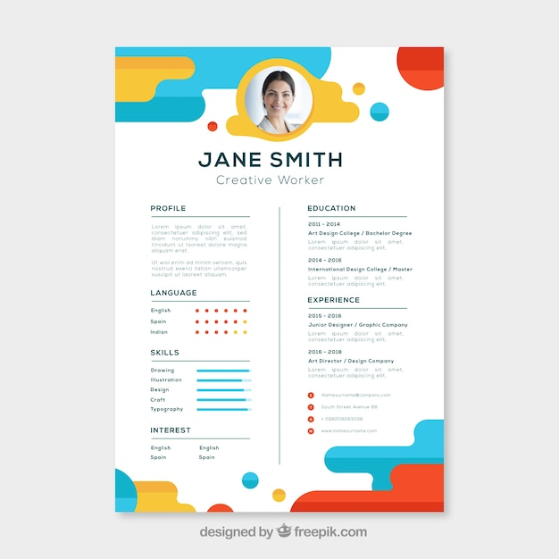 free colourful cv templates