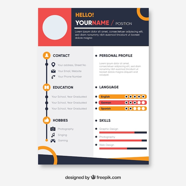 Colorful resume template Vector Free Download