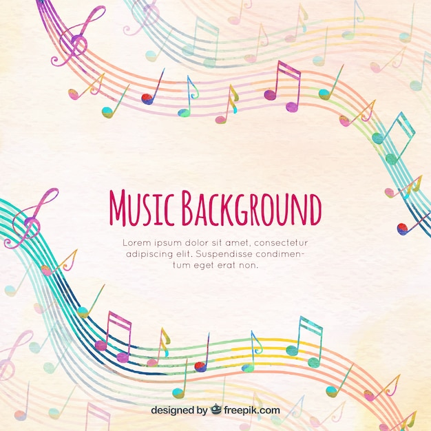 Colorful staves background with musical notes Vector Free Download