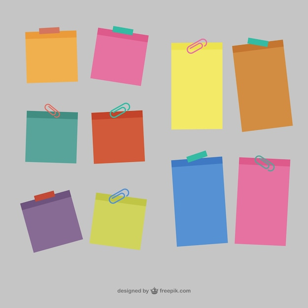 Colorful sticky notes Vector Free Download