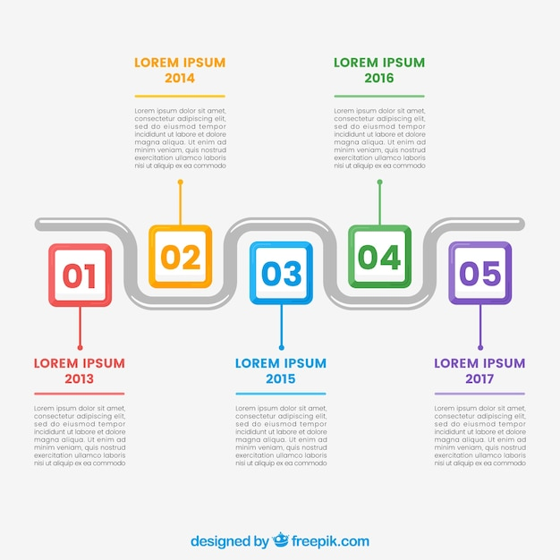 Colorful timeline template Vector Free Download