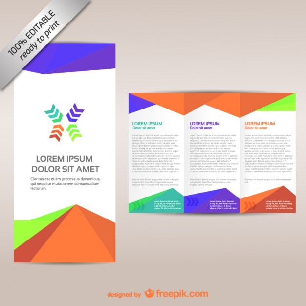 Colorful tri-fold brochure template Vector Free Download - free pamphlet design