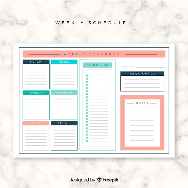 Colorful weekly schedule template with flat design Vector Free