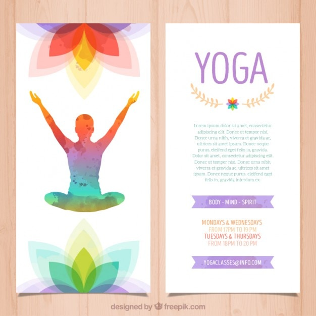 Colorful yoga brochure Vector Free Download - yoga flyer