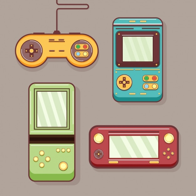 Coloured retro video games Vector Free Download - video game template