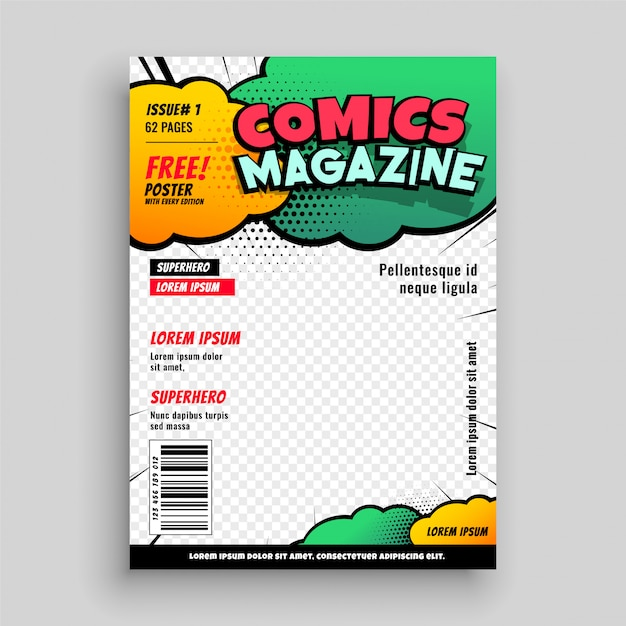 Comic book cover page template design Vector Free Download
