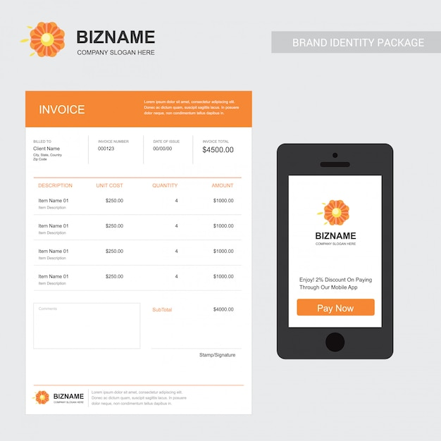 Company invoice with mobile app design with flower logo Vector