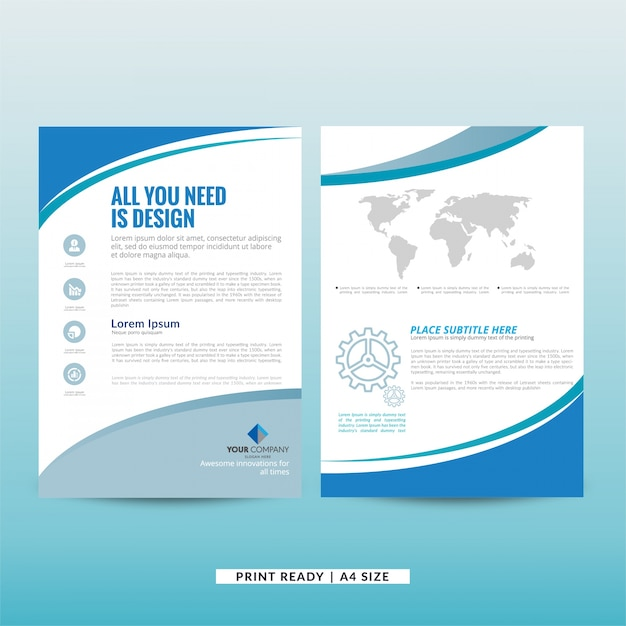 Company marketing brochure template Vector Free Download - marketing brochure