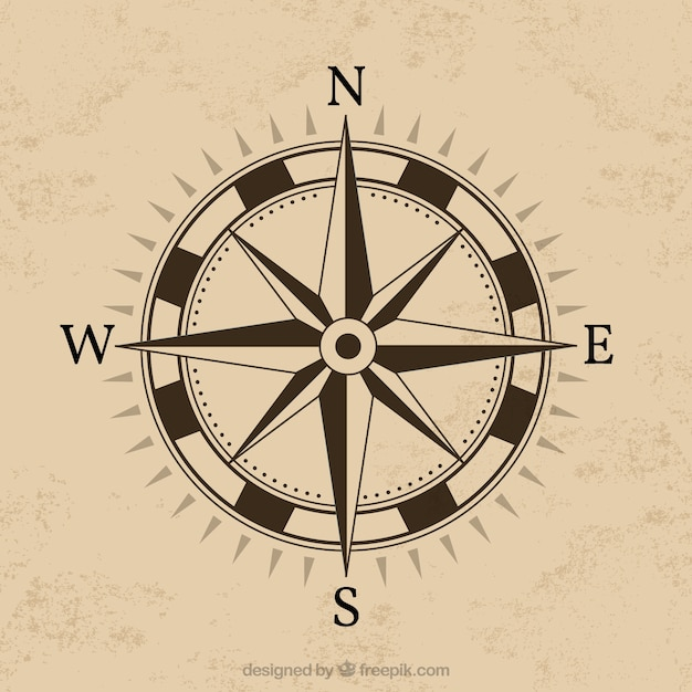 Compass design with brown background Vector Free Download