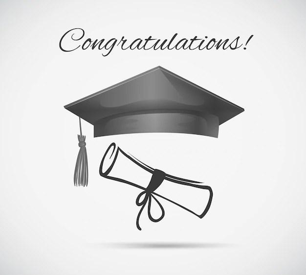 Congratulations card template with graduation cap Vector Free Download