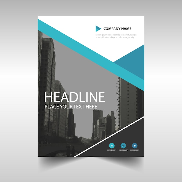 Corporate brochure template with blue geometric lines Vector Free - architecture brochure template