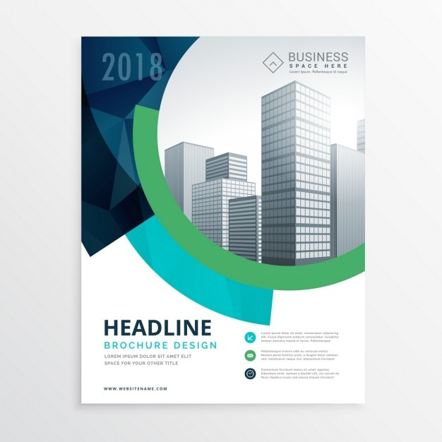 Corporate brochure with circular shapes Vector Free Download
