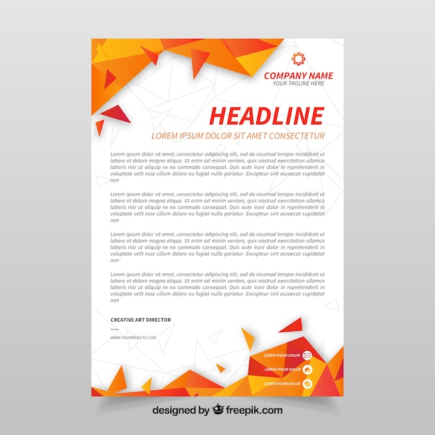 Corporate letterhead with orange abstract shapes Vector Free Download