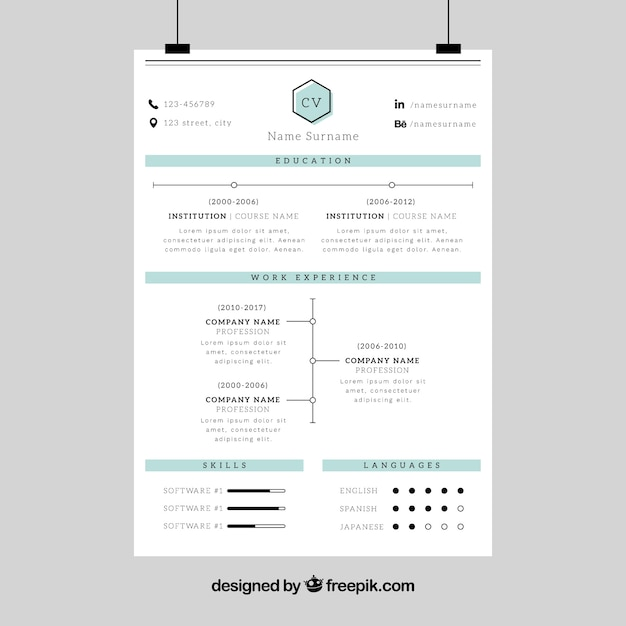 Corporate resume template Vector Free Download