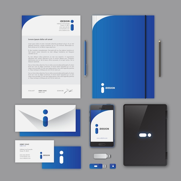 Corporate stationery, blue color Vector Free Download