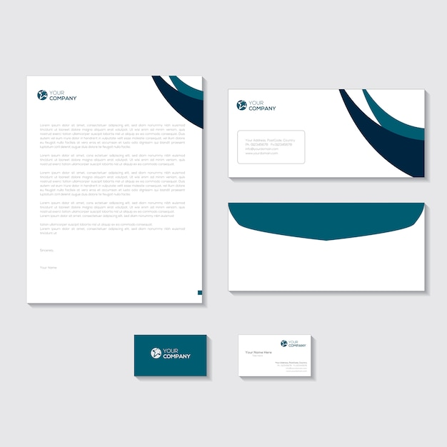 Corporate stationery design Vector Premium Download