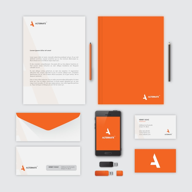 Corporate stationery, orange Vector Free Download