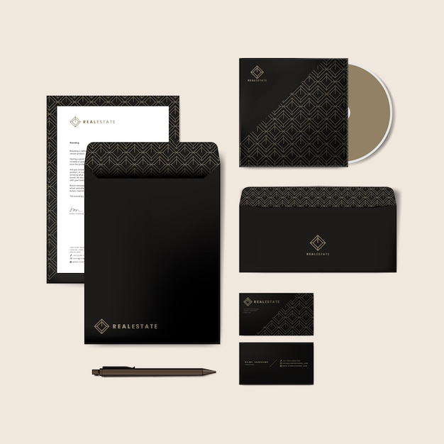 Corporate stationery templates Vector Free Download
